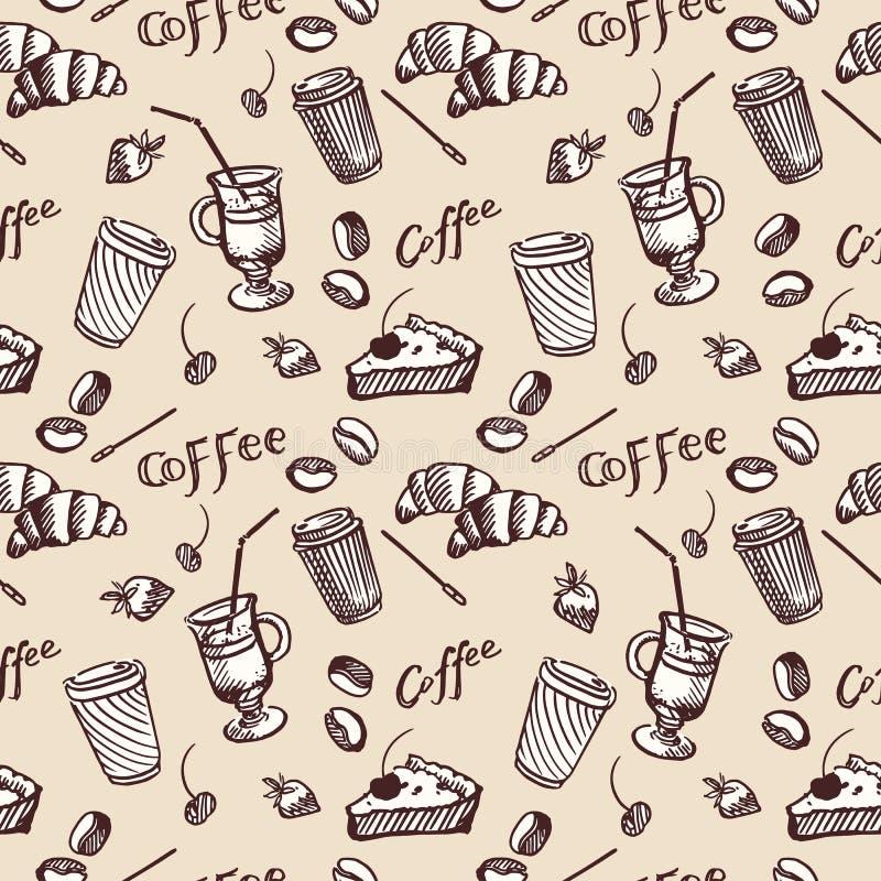 Modèle sans couture de vintage de café et de petit gâteau illustration de vecteur