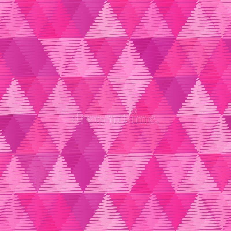 Modèle sans couture de vintage de triangles roses de textile illustration de vecteur