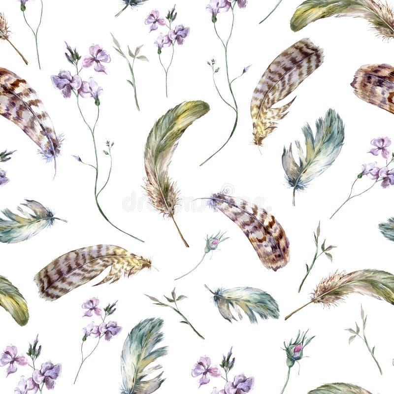 Modèle sans couture de vintage floral d'aquarelle avec photo stock