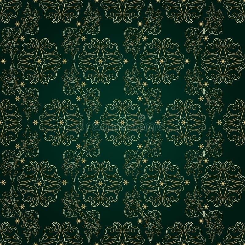 Modèle sans couture de vintage floral sur le fond vert illustration libre de droits