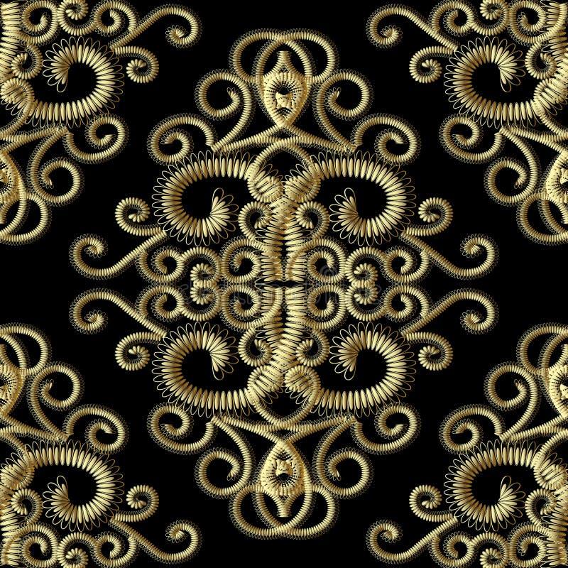 Modèle sans couture de vintage grunge de l'or 3d Modèle de tapisserie de vecteur illustration stock