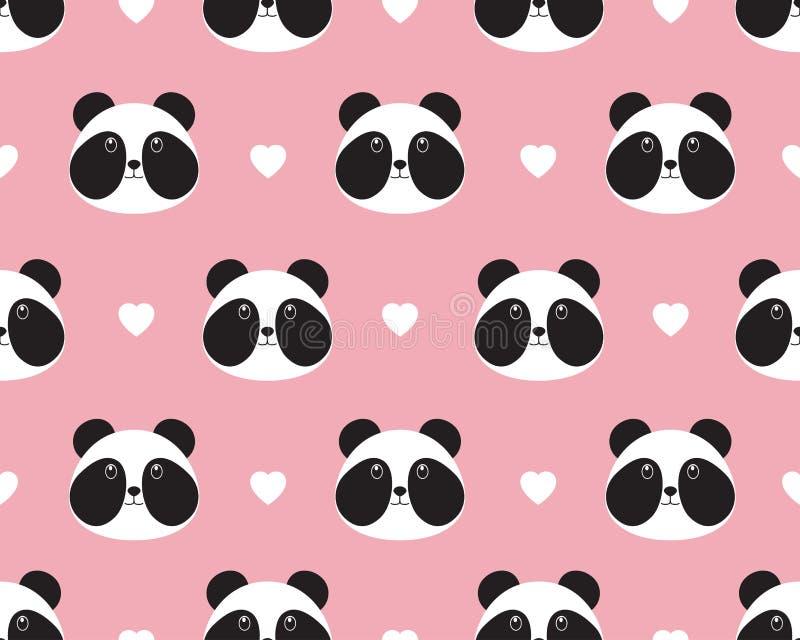 Modèle sans couture de visage mignon de panda avec le coeur illustration stock