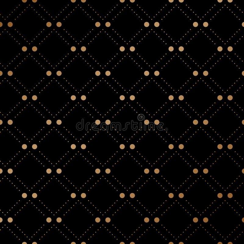 Modèle sans couture de voile d'or sur le fond noir Illustration de vecteur illustration de vecteur