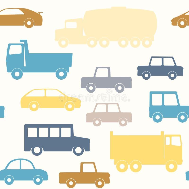 Modèle sans couture de voitures et de camions illustration stock