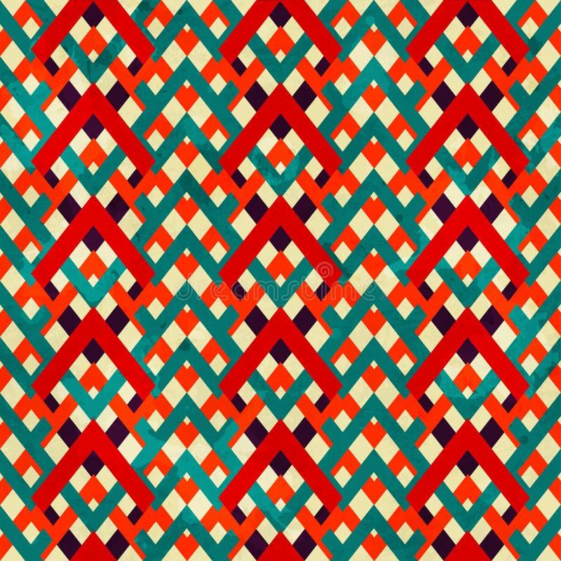Modèle sans couture de zigzag de vintage avec l'effet grunge illustration libre de droits