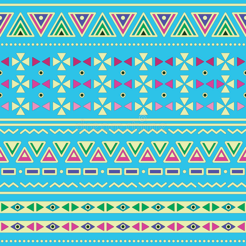Modèle sans couture de ztec tribal d'ethinc sur le fond bleu illustration stock