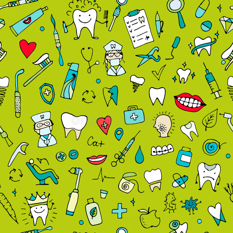 Modèle sans couture dentaire, croquis pour votre conception illustration stock