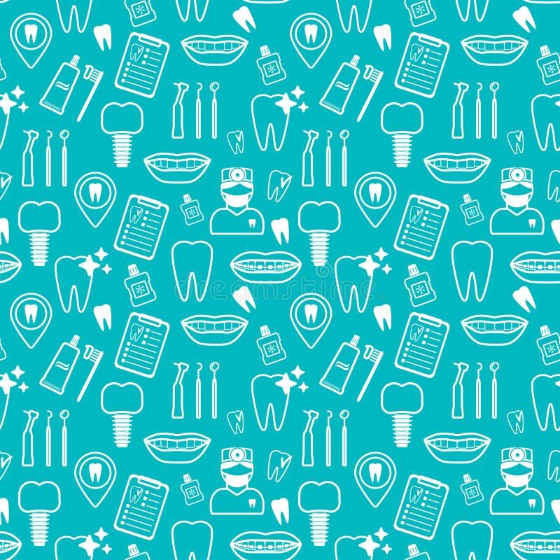 Modèle sans couture dentaire Icônes linéaires blanches Conception plate de contexte bleu Vecteur illustration stock