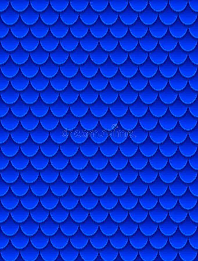 Modèle sans couture des échelles de poissons bleues colorées Échelles de poissons, peau de dragon, carpe japonaise, peau de dinos illustration libre de droits