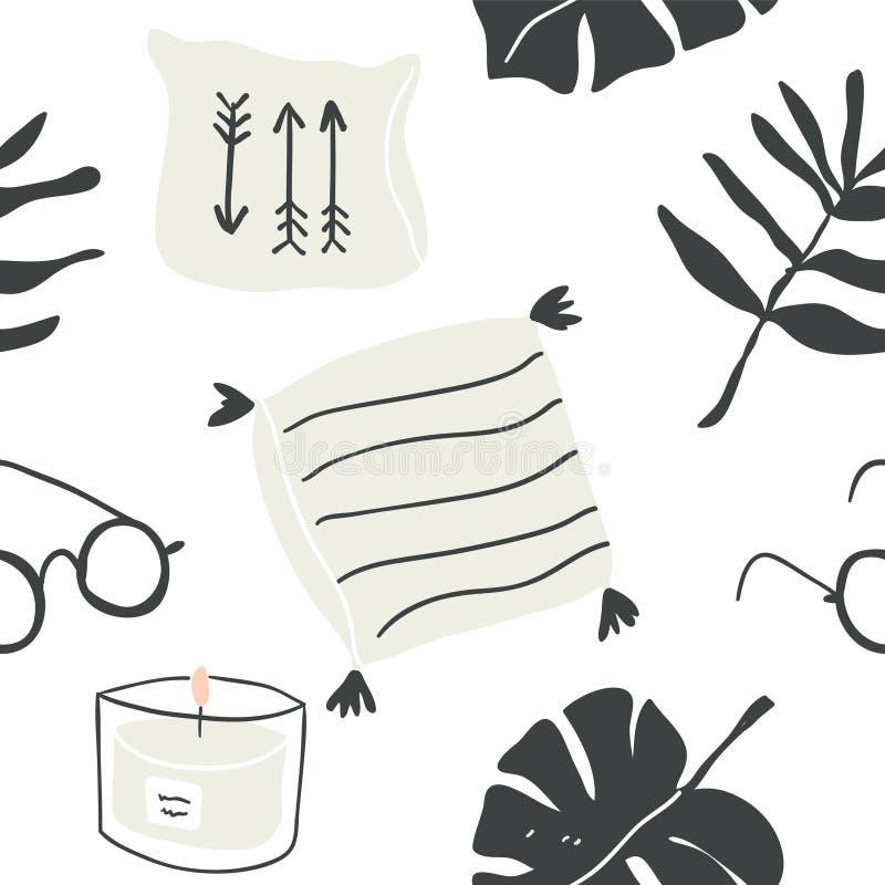Modèle sans couture des éléments de blogger de hygge illustration stock