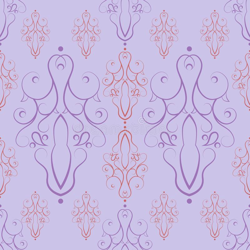 Modèle sans couture des éléments multicolores décoratifs sur le fond de lumière-lilas illustration de vecteur