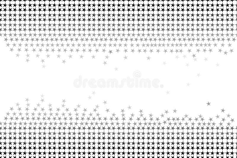 Modèle sans couture des étoiles et formes géométriques dans des couleurs grises sur le fond blanc, couleur noire et blanche Illus illustration de vecteur