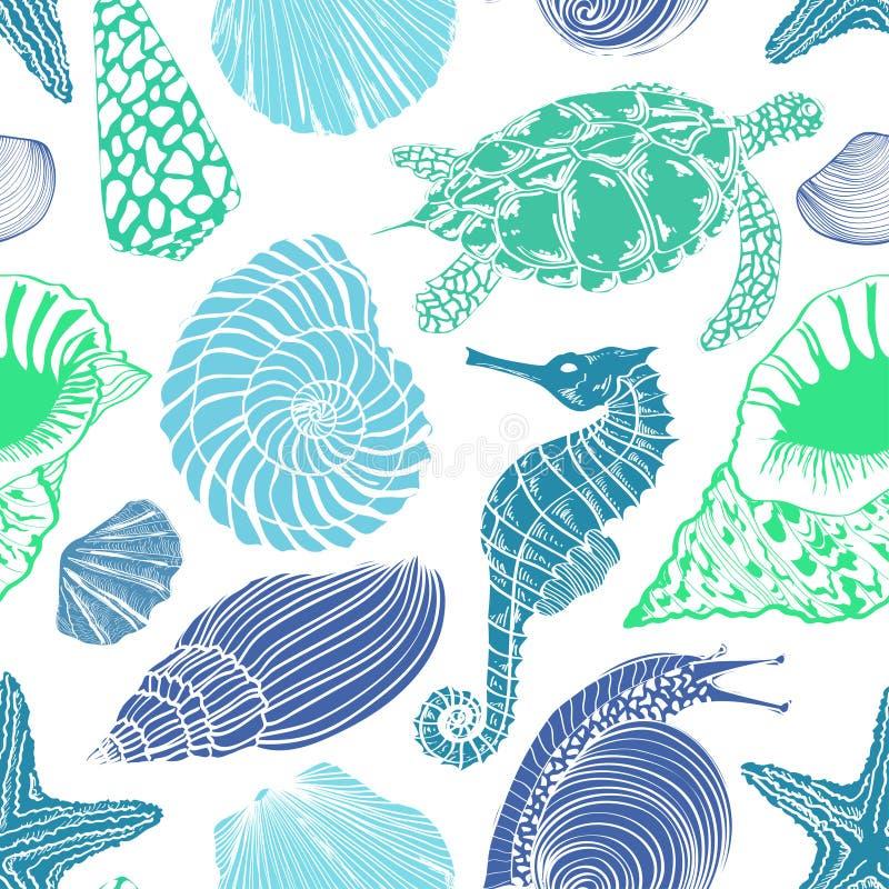 Modèle sans couture des animaux de mer illustration de vecteur
