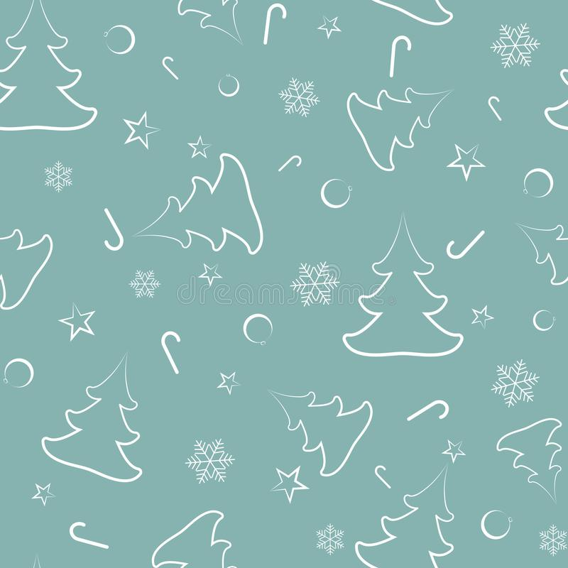 Modèle sans couture des arbres de Noël, les boules de nouvelle année, étoiles, sucreries, flocons de neige illustration stock