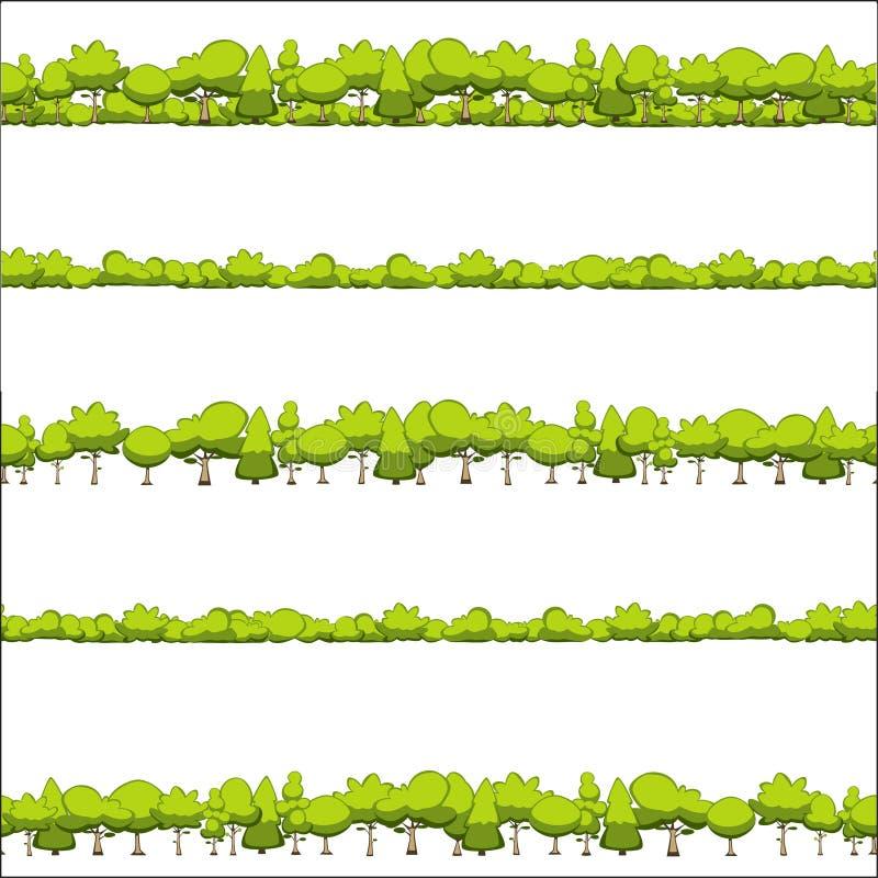 Modèle sans couture des arbres et des arbustes illustration libre de droits