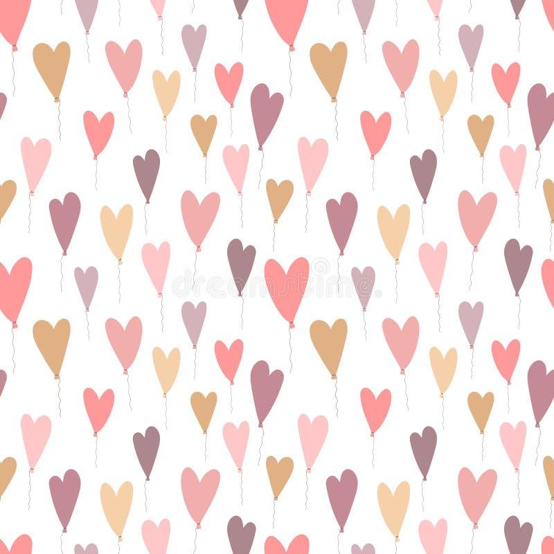 Modèle sans couture des ballons en forme de coeur tirés par la main Image de vecteur pour la Saint-Valentin, amants, copies, vête illustration libre de droits