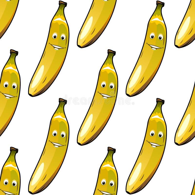 Modèle sans couture des bananes jaunes mûres heureuses illustration de vecteur