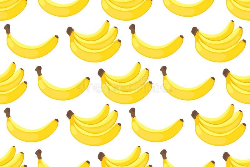 Modèle sans couture des bananes jaunes sur le fond blanc illustration libre de droits