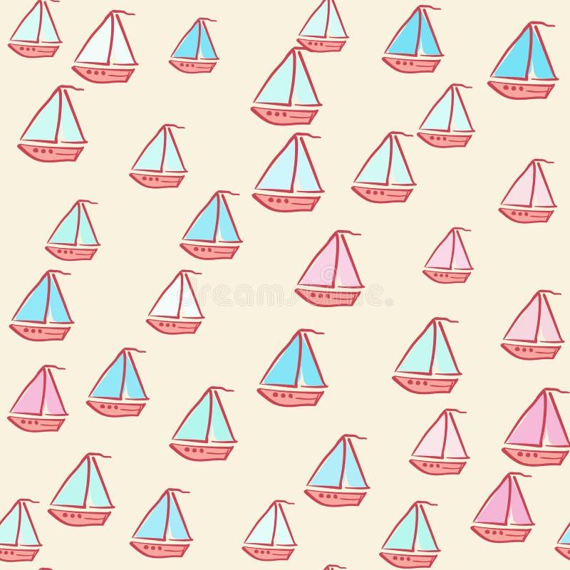Modèle sans couture des bateaux peints illustration de vecteur