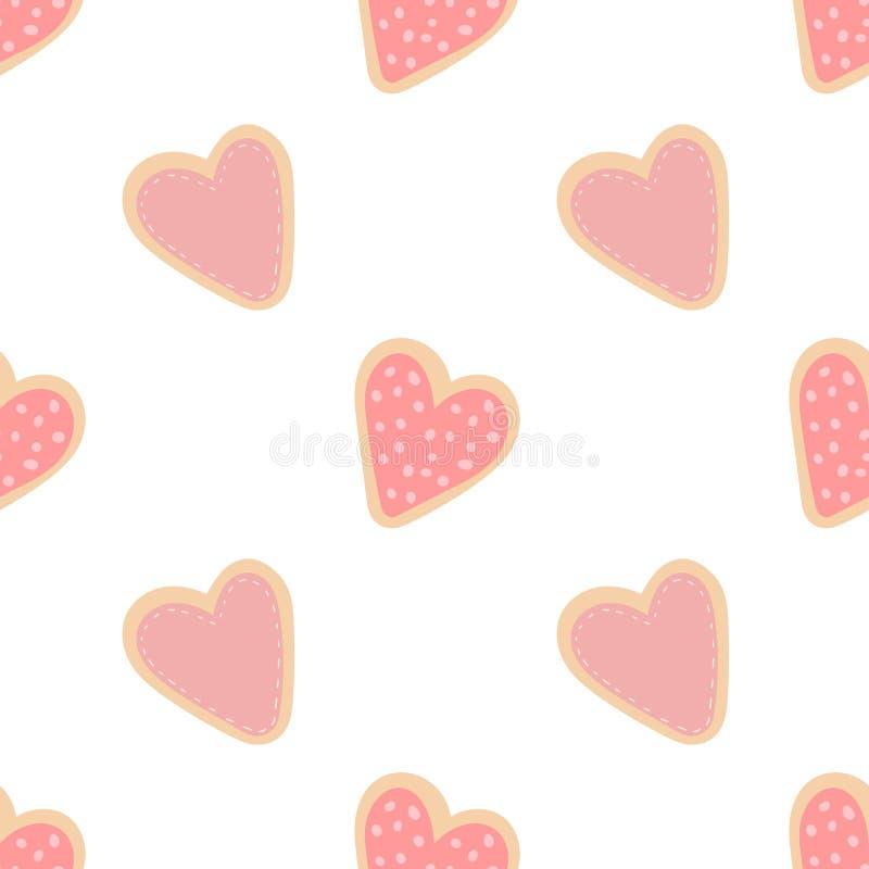 Modèle sans couture des biscuits en forme de coeur tirés par la main Image de vecteur pour la Saint-Valentin, amants, copies, vêt illustration libre de droits