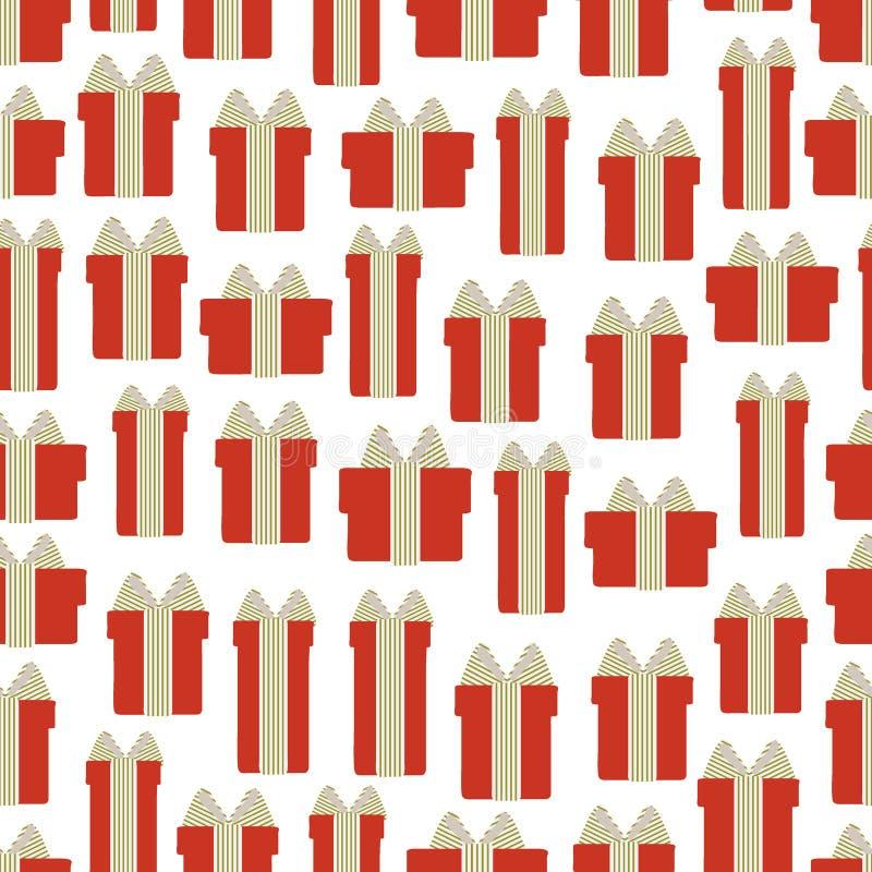 Modèle sans couture des boîte-cadeau sur un fond blanc Illustration de vecteur illustration de vecteur
