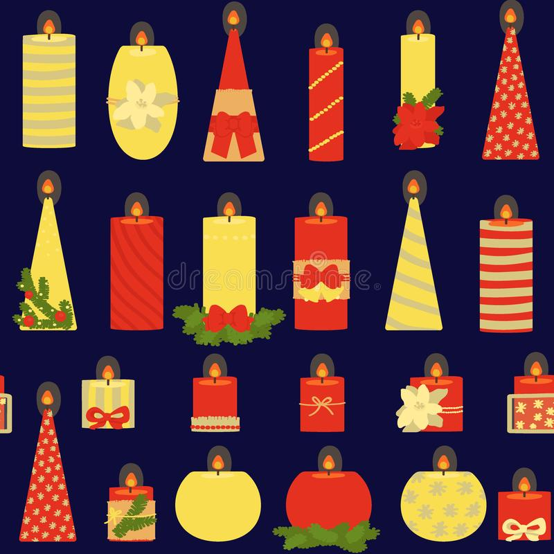 Modèle sans couture des bougies sur un fond foncé festive Illustration de vecteur illustration de vecteur