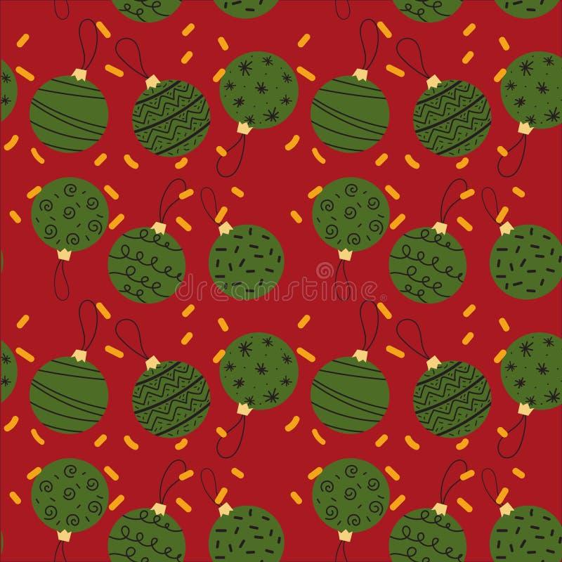 Modèle sans couture des boules créatives de Noël illustration de vecteur