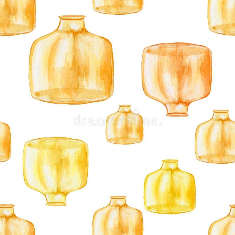 Modèle sans couture des bouteilles de jaune d'enfoncement d'aquarelle illustration de vecteur