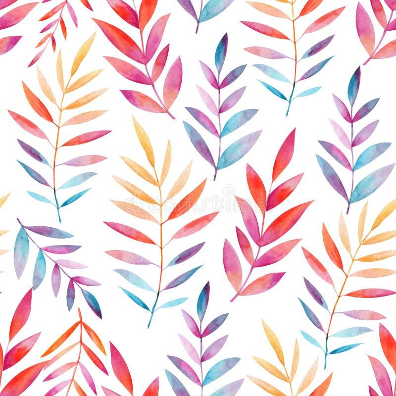 Modèle sans couture des brindilles avec les feuilles colorées sur un fond blanc Retrait d'aquarelle Lames en baisse illustration stock