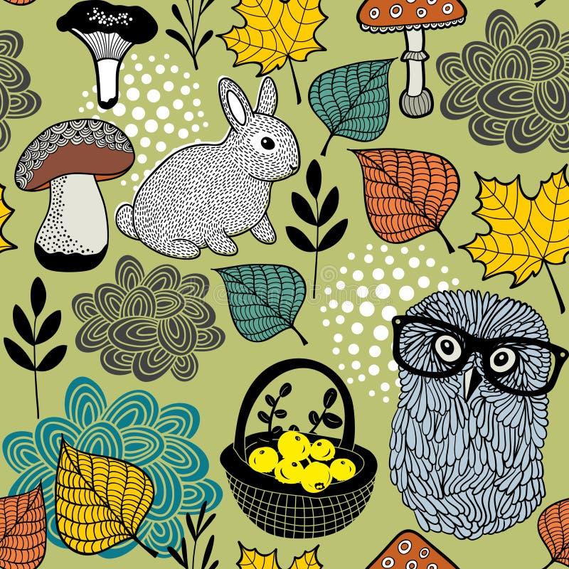 Modèle sans couture des champignons et des animaux de forêt illustration stock