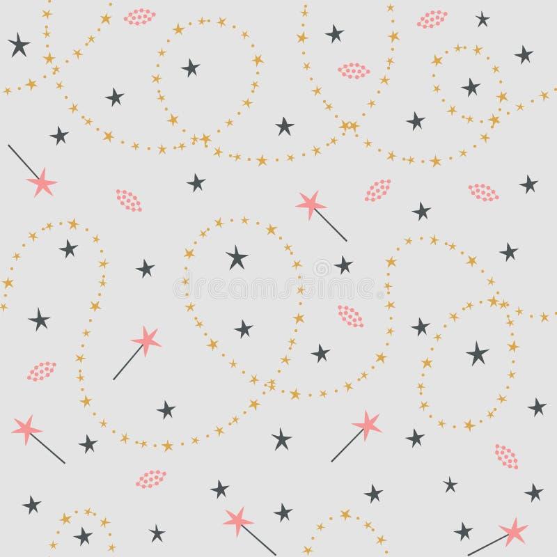 Modèle sans couture des chimères et des baguettes magiques magiques illustration stock