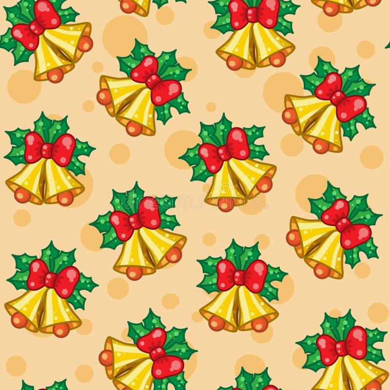 Modèle sans couture des cloches de Noël avec des feuilles illustration libre de droits
