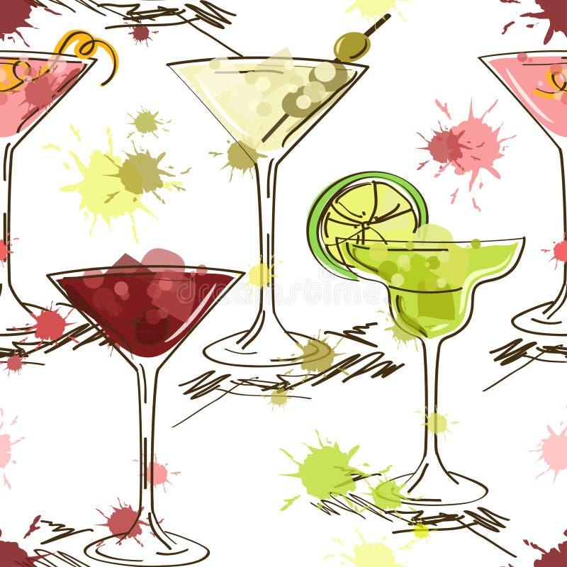 Modèle sans couture des cocktails vifs illustration de vecteur