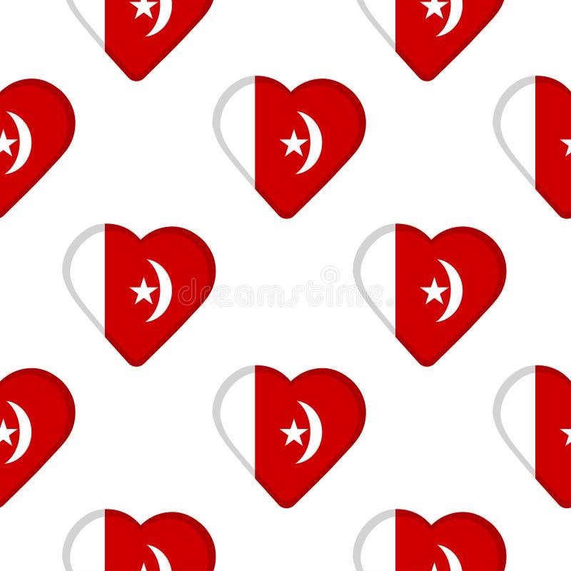 Modèle sans couture des coeurs avec le drapeau d'Umm al-Quwain illustration libre de droits