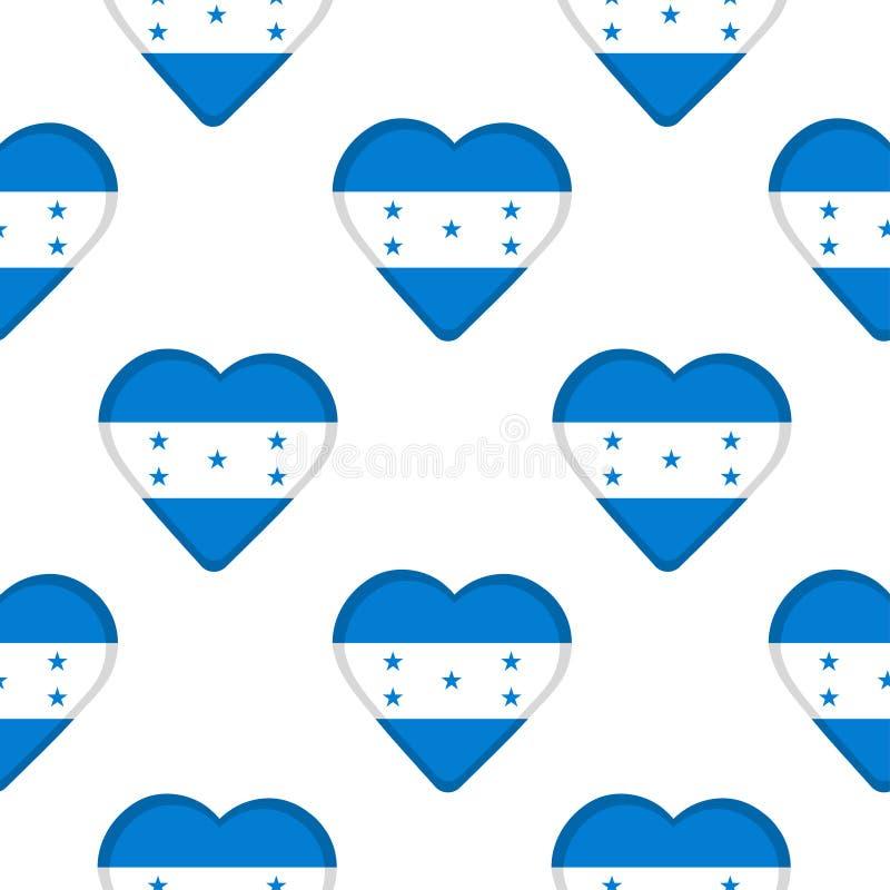 Modèle sans couture des coeurs avec le drapeau du Honduras illustration libre de droits