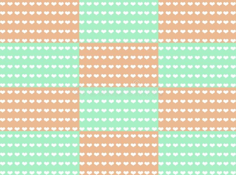 Modèle sans couture des coeurs blancs sur le fond en pastel vert et orange de ton image libre de droits