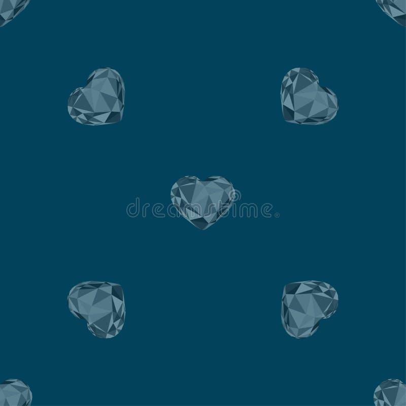 Modèle sans couture des coeurs en cristal de vecteur géométrique polygonal de triangulation de segment sur le fond bleu-foncé illustration libre de droits
