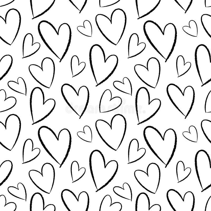 Modèle sans couture des coeurs tirés par la main Fond pour des cartes, papiers, tissus, papiers peints, décoration, bannières de  illustration de vecteur
