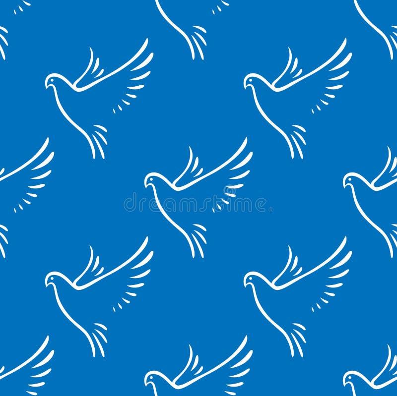 Modèle sans couture des colombes de vol de paix illustration de vecteur