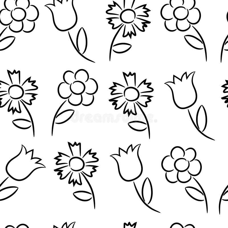 Modèle sans couture des contours noirs de différentes fleurs illustration de vecteur