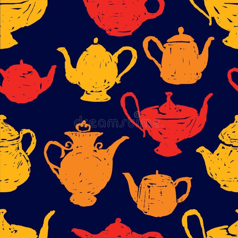 Modèle sans couture des croquis de pots de thé illustration libre de droits
