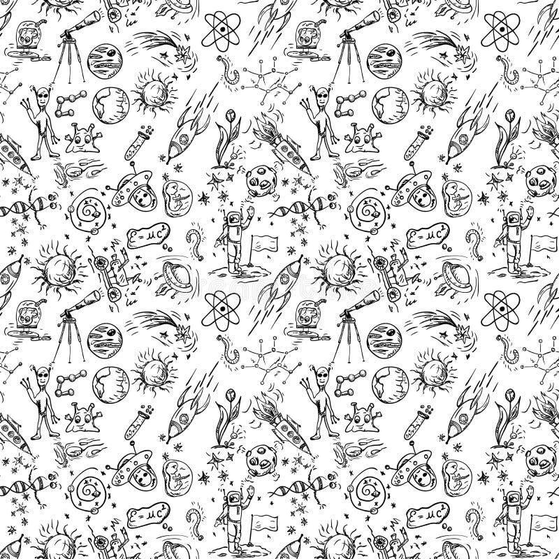 Modèle sans couture des dessins de la découpe des enfants sur le thème de l'espace illustration de vecteur