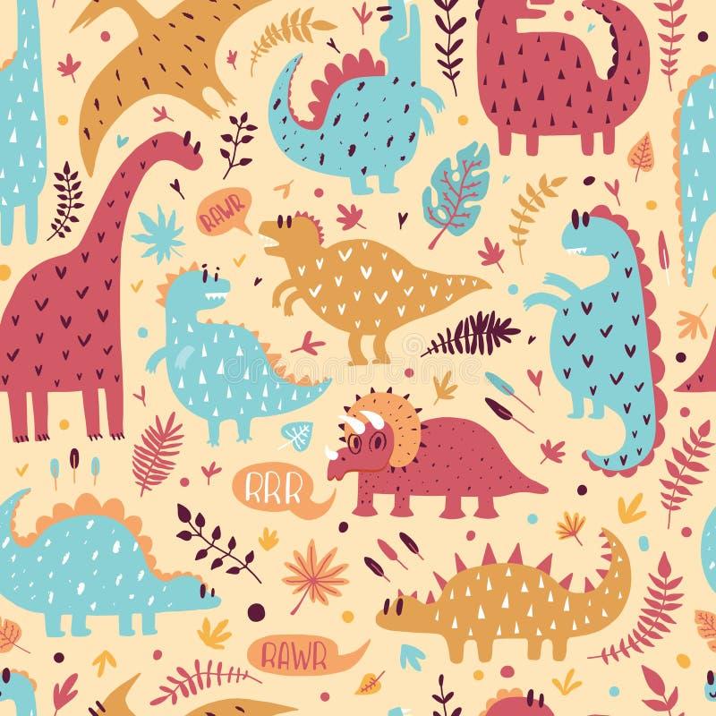Modèle sans couture des dinosaures mignons avec les feuilles tropicales Illustration tirée par la main de vecteur Conception mign image libre de droits