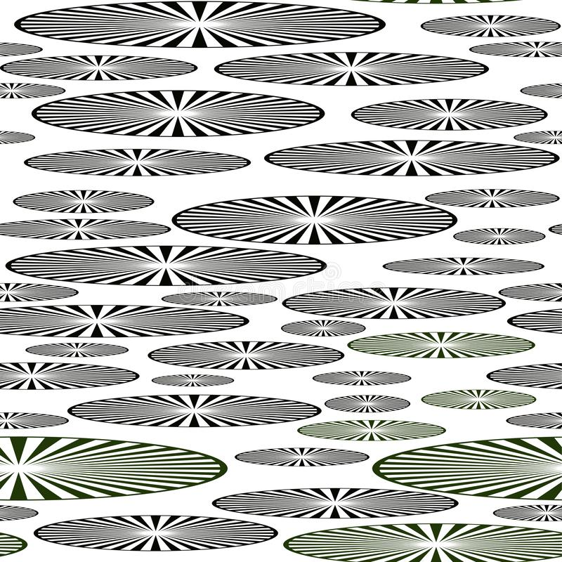 Modèle sans couture des disques sous forme d'ellipse avec les lignes radiales illustration de vecteur