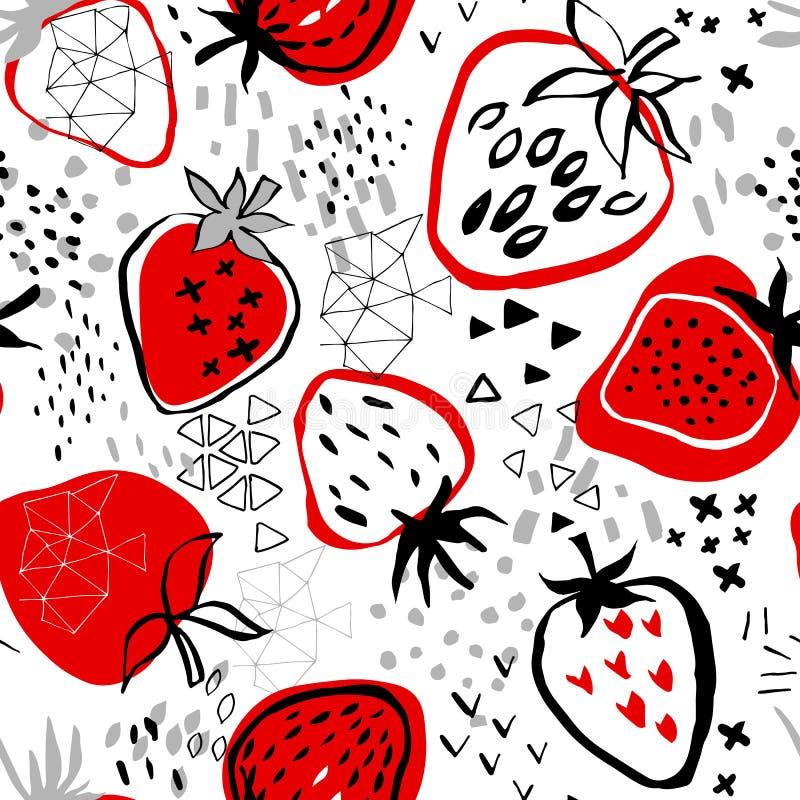 Modèle sans couture des drawnstrawberries abstraits de main sur le fond blanc illustration libre de droits
