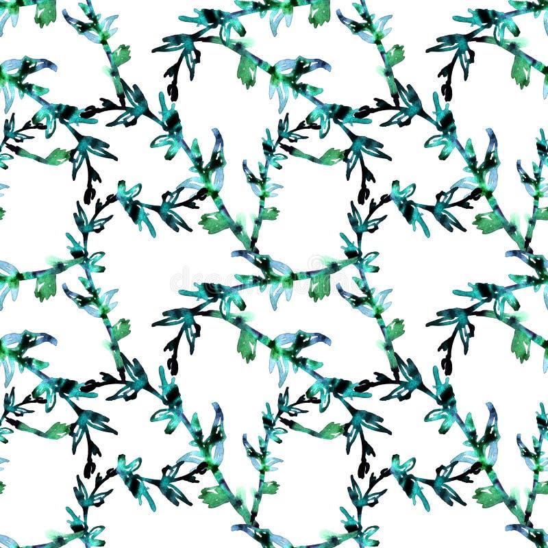 Mod?le sans couture des feuilles et des brindilles d'aquarelle Copie pour le tissu et d'autres surfaces Des feuilles et les branc illustration de vecteur