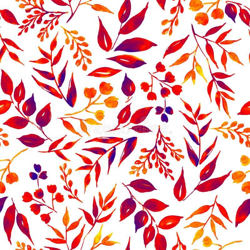 Modèle sans couture des feuilles, herbes, plante tropicale illustration libre de droits