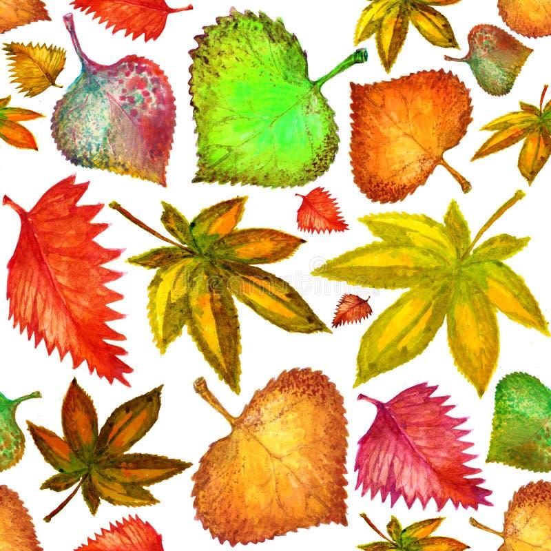Modèle sans couture des feuilles lumineuses d'automne watercolor handmade illustration libre de droits