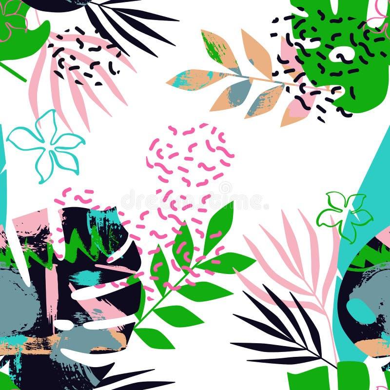 Modèle sans couture des feuilles tropicales avec Memphis illustration libre de droits