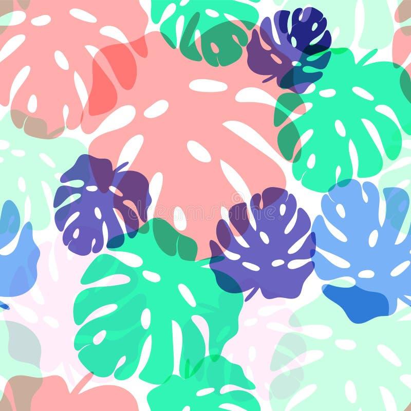 Modèle sans couture des feuilles tropicales de Monstera illustration libre de droits
